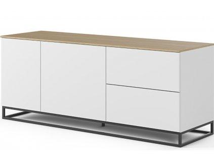 Bílá dřevěná komoda Lettia II 160 x 50 cm s dubovou deskou