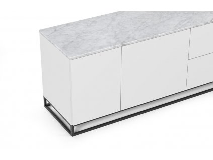 Bílá dřevěná komoda Lettia II 160 x 50 cm s bílým mramorem