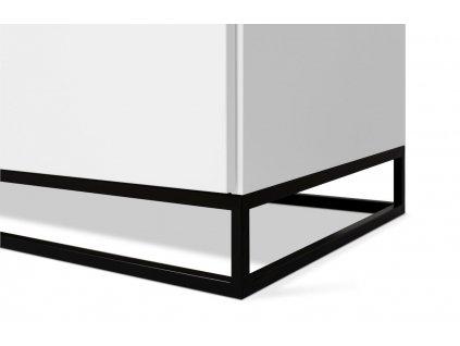 Bílá dřevěná komoda Lettia II 160 x 50 cm s černým mramorem