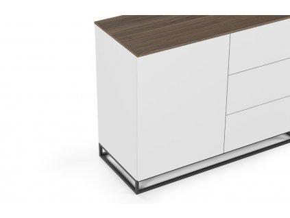 Bílá dřevěná komoda Lettia II 120 x 50 cm s ořechovou deskou