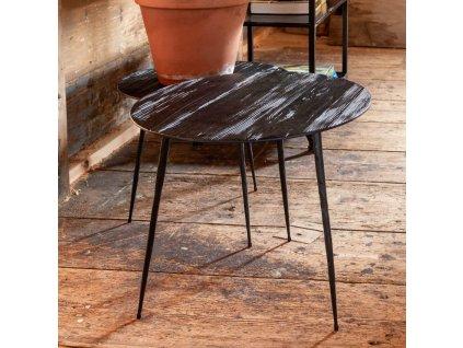Černý odkládací stolek DUTCHBONE PEPPER 45 cm, borovicová dýha, kovová podnož