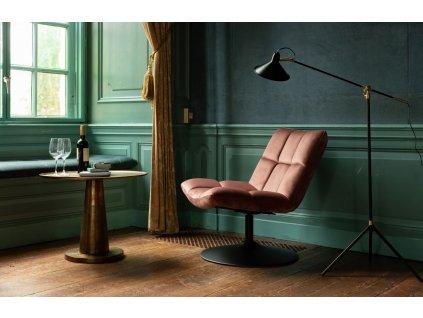 Růžové sametové křeslo DUTCHBONE BAR, látkový, sametový sedák, otočná podnož