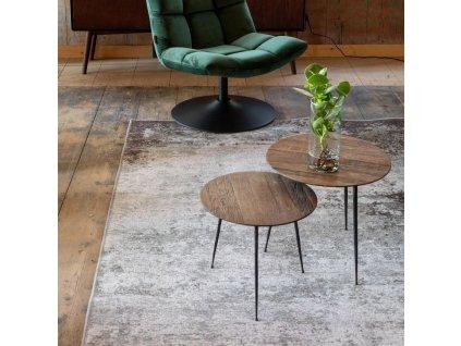 Hnědý odkládací stolek DUTCHBONE PEPPER 40 cm, borovicová dýyha, kovová podnož