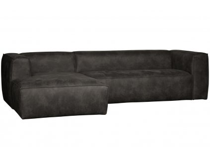Černá koženková rohová pohovka Bearny 305 cm, levá