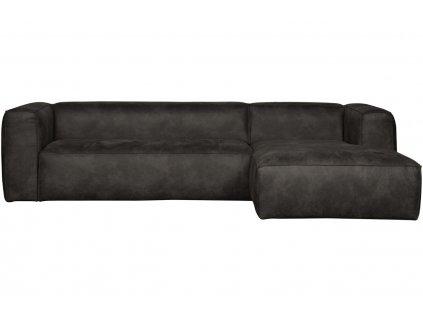 Černá koženková rohová pohovka Bearny 305 cm, pravá