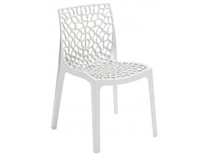 Bílá plastová jídelní židle Coral-C