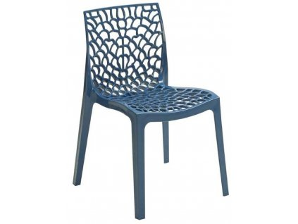 Modrá plastová jídelní židle Coral-C