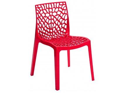 Červená plastová jídelní židle Coral-C