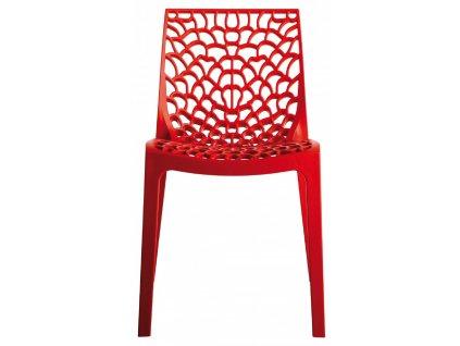 Rudá plastová jídelní židle Coral-C