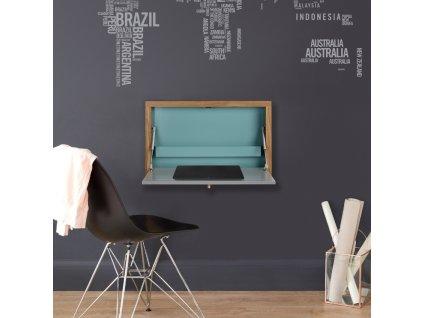 Vyklápěcí stůl Woodman Brenta, tyrkysová/dub 74x8 cm