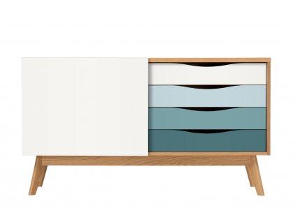 Bílo modrá dubová komoda Woodman Avon 128 x 42 cm1309x848