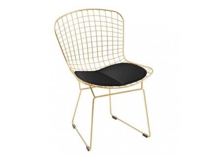 Zlatá kovová jídelní židle Harry