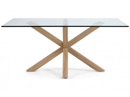 Skleněný jídelní stůl LaFormaArya 160x90 cm s přírodní podnoží
