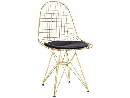 Zlatá kovová židle DKR s černým podsedákem z ekokůže
