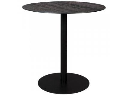 Černý kulatý jídelní stůl DUTCHBONE BRAZA ROUND 75 cm s dýhovou deskou