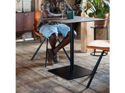 Přírodní jídelní stůl DUTCHBONE BRAZA SQUARE 75 cm s dýhovou deskou, černá lakovaná kovová podnož