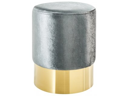 Stříbrný sametový taburet Bono 35 cm