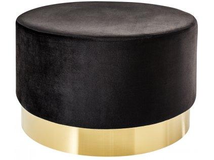 Černý sametový taburet Bono 55 cm