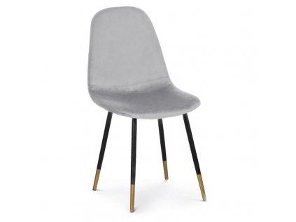 Jídelní židle Gamma, samet, světle šedá
