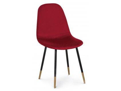 Červená sametová jídelní židle Gamma s prošíváním