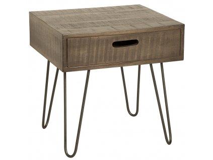 Šedý masivní odkládací stolek Remus 50 cm