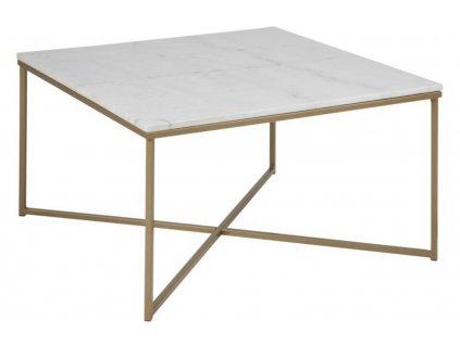 Bílý mramorový konferenční stolek Venice 80x80 cm, mramorová deska, podnož ze zlatě lakovaného kovu
