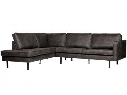 Černá koženková rohová pohovka Raden 266 cm, levá