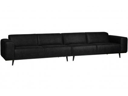 Černá koženková čtyřmístná pohovka Twilight 372 cm
