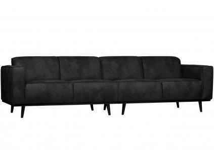 Černá koženková čtyřmístná pohovka Twilight 280 cm