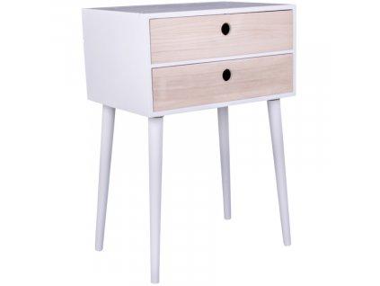 Bílý dřevěný noční stolek Feda