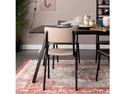Matná béžová jídelní židle ZUIVER BACK TO SCHOOL, překližka pokrytá laminem, ocelová černá podnož