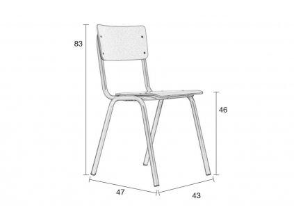 Matná hnědá jídelní židle ZUIVER BACK TO SCHOOL, překližka pokrytá laminem, ocelová černá podnož