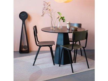 Matná olivová jídelní židle ZUIVER BACK TO SCHOOL s kovovou podnoží