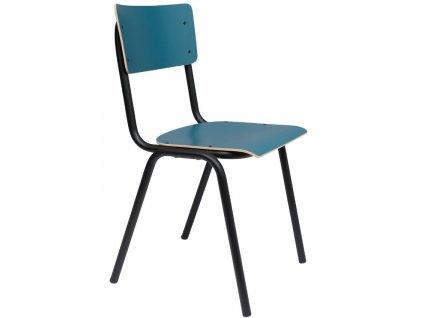 Matná petrolejová jídelní židle ZUIVER BACK TO SCHOOL, překližka pokrytá laminem, ocelová černá podnož