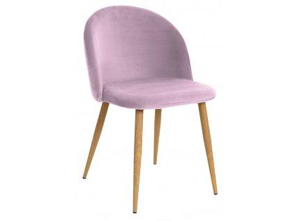 Růžová sametová židle Finest