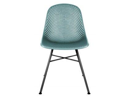 Modrá plastová jídelní židle Dylan