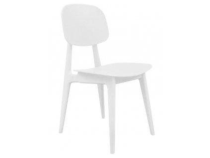 Bílá plastová jídelní židle Corin