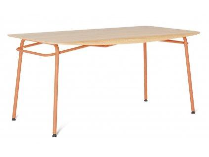 Oranžový dubový jídelní stůl Tabanda Troj 160x80 cm