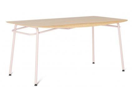 Růžový dubový jídelní stůl Tabanda Troj 160x80 cm