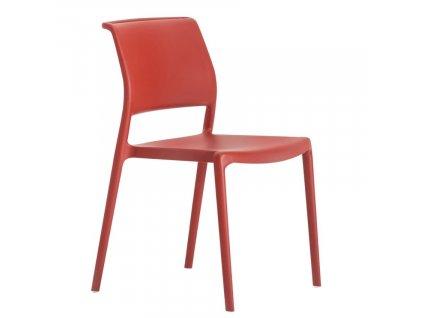 Červená plastová jídelní židle Ara 310