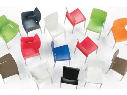 Modrá plastová jídelní židle Ice 800