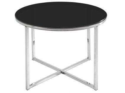 Černý skleněný konferenční stolek Claire 55 cm, chromopvaná podnož