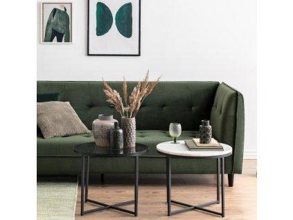 Kouřový skleněný konferenční stolek Claire 55 cm, kouřové sklo, černě lakovaná kovová matná podnož