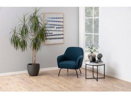 Bílý kulatý mramorový konferenční stolek Claire 55 cm