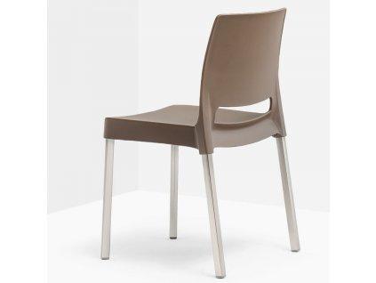 Hnědá plastová židle Joi 870