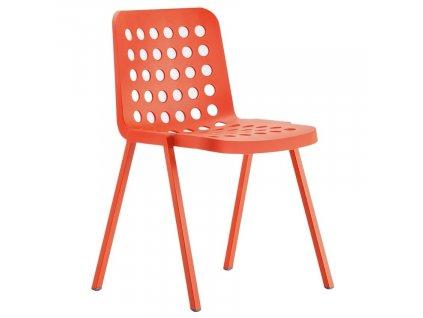 Červená plastová jídelní židle Koi-Booki 370