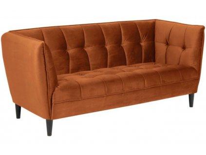 Oranžová sametová dvoumístná pohovka Mildret 182 cm