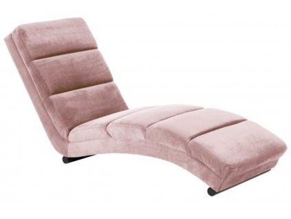 Sametová růžová lenoška Grane, čalounění, 100% polyester, černě lakovaná kovová podnož