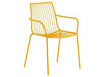 Žlutá kovová jídelní židle Nolita 3656 s područkami
