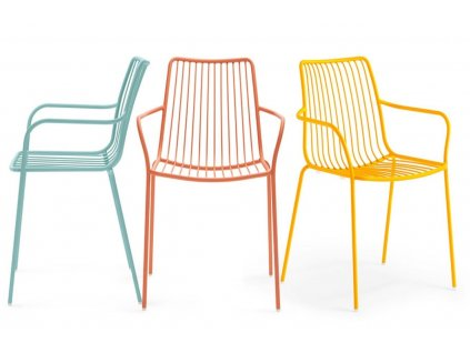 Žlutá kovová židle Nolita 3656 s područkami